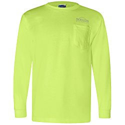 View a larger, more detailed picture of the Bayside Union Made LS Pocket T-Shirt - Colors