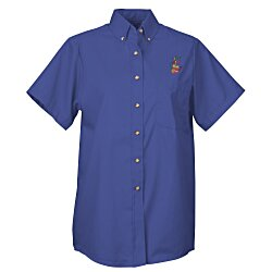 View a larger, more detailed picture of the Soil Release Button Down SS Poplin Shirt - Ladies