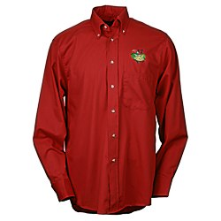 View a larger, more detailed picture of the Soil Release Button Down LS Poplin Shirt - Men s