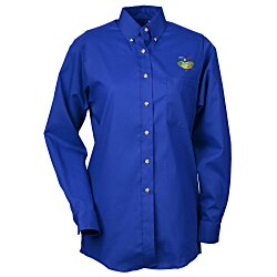 View a larger, more detailed picture of the Soil Release Button Down LS Poplin Shirt - Ladies