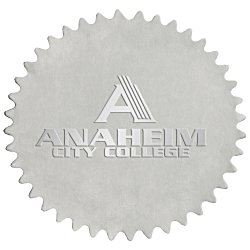 View a larger, more detailed picture of the Embossed Seal by the Roll - Circle - Pinked Edge - 1-7 16 