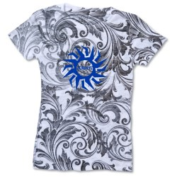 View a larger, more detailed picture of the Blue 84 Juniors Burnout Sublimated Tee - Black Paisley