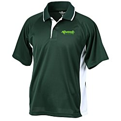 View a larger, more detailed picture of the Tipped Color Block Wicking Polo - Men s