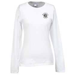 View a larger, more detailed picture of the Gildan SoftStyle LS T-Shirt - Ladies - Screen - White