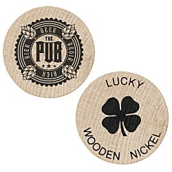 View a larger, more detailed picture of the Wooden Nickels - Lucky