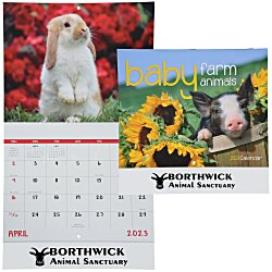 View a larger, more detailed picture of the Baby Farm Animals Calendar - Stapled