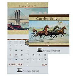 View a larger, more detailed picture of the Currier & Ives Calendar - Stapled