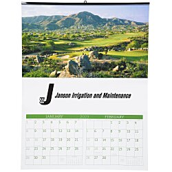 View a larger, more detailed picture of the Golf Landscapes Calendar w 2-month view