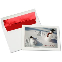 View a larger, more detailed picture of the Playful Snow Angel Snowman Greeting Card