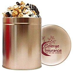 View a larger, more detailed picture of the 1 Quart Gourmet Popcorn Tin - Cookies & Cream