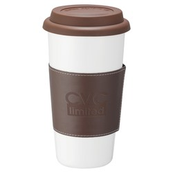 View a larger, more detailed picture of the Double Wall Ceramic Tumbler w wrap - 15 oz