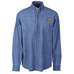 View a larger, more detailed picture of the Harriton Long Sleeve Denim Shirt - Men s