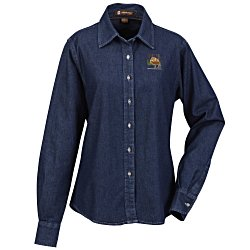 View a larger, more detailed picture of the Harriton Long Sleeve Denim Shirt - Ladies
