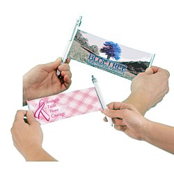 View a larger, more detailed picture of the Banner Pen - Pink Ribbon - Plaid