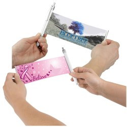 View a larger, more detailed picture of the Banner Pen - Pink Ribbon - Butterflies