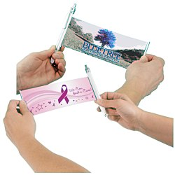 View a larger, more detailed picture of the Banner Pen - Pink Ribbon - Rainbow