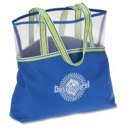 View a larger, more detailed picture of the Color Band Mesh Top Tote