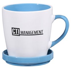 View a larger, more detailed picture of the Double-up Mug w Coaster - White - 12 oz