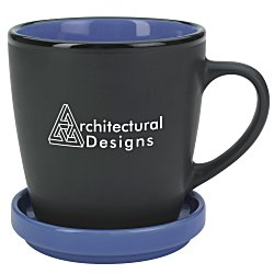 View a larger, more detailed picture of the Double-up Mug w Coaster - Black - 12 oz 
