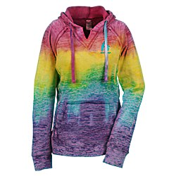 View a larger, more detailed picture of the Weatherproof Courtney Burnout Sweatshirt-Rainbow Stripe-Emb