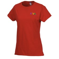 View a larger, more detailed picture of the Gildan SoftStyle T-Shirt - Ladies - Embroidered - Colors