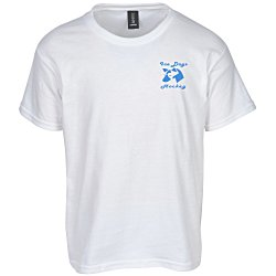 View a larger, more detailed picture of the Anvil 4 5 oz Ringspun Fashion-Fit T-Shirt - Youth - White
