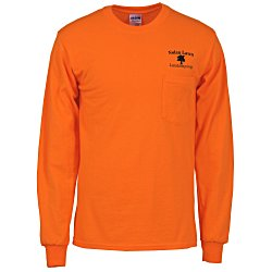 View a larger, more detailed picture of the Gildan 6 1 oz Ultra Cotton LS Pocket T-Shirt - Colors
