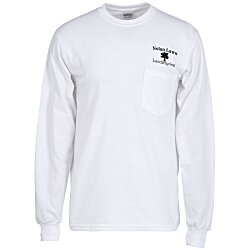 View a larger, more detailed picture of the Gildan 6 1 oz Ultra Cotton LS Pocket T-Shirt - White