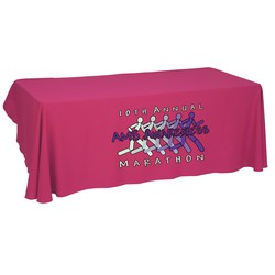 View a larger, more detailed picture of the Economy Open-Back Poly Table Throw-8 - Heat Transfer - 24 hr