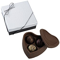 View a larger, more detailed picture of the Chocolate Heart Box w Truffles - Silver Box