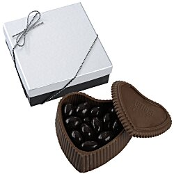 View a larger, more detailed picture of the Chocolate Heart Box w Confection - Silver Box