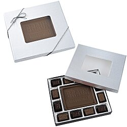 View a larger, more detailed picture of the Chocolate Bites - 8 oz - Silver Box