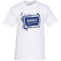 View a larger, more detailed picture of the Hanes Tagless T-Shirt - Screen - White - Tech Design