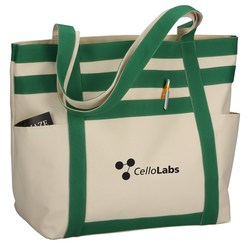 View a larger, more detailed picture of the Rugby Stripe Boat Tote - 24 hr