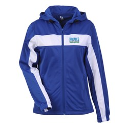 View a larger, more detailed picture of the Badger Sport Brushed Tricot Hooded Jacket - Ladies