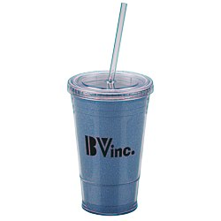 View a larger, more detailed picture of the Glitter Tumbler w Straw - 16 oz