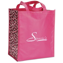 View a larger, more detailed picture of the Inspirations Laminated Grocery Tote - 15 x 13 - Pink