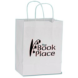 View a larger, more detailed picture of the White Kraft Recycled Paper Shopping Bag - 10-1 2 x 8 -24 hr