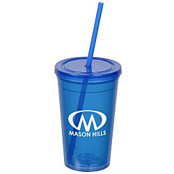 View a larger, more detailed picture of the Economy Double Wall Tumbler w Straw - 16 oz