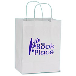 View a larger, more detailed picture of the White Kraft Recycled Paper Shopping Bag - 10-1 2 x 8