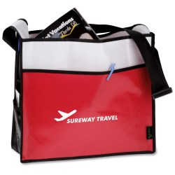 View a larger, more detailed picture of the Laminated Box Deluxe Convention Tote - Closeout
