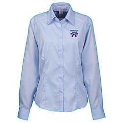 View a larger, more detailed picture of the Wrinkle-Free Cotton Stripe Jacquard Shirt - Ladies