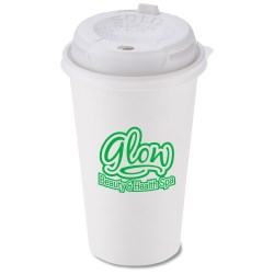 View a larger, more detailed picture of the Paper Hot Cold Cup - 16 oz w Traveler Plus Lid