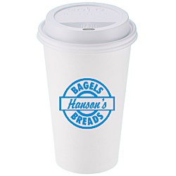 View a larger, more detailed picture of the Paper Hot Cold Cup with Traveler Lid - 16 oz - Low Qty