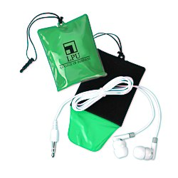 View a larger, more detailed picture of the Cell Phone Cleaning Pouch w Ear Buds