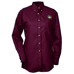 View a larger, more detailed picture of the Soil Release Button Down LS Poplin Shirt - Ladies - 24 hr