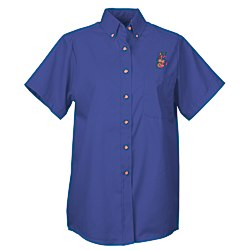 View a larger, more detailed picture of the Soil Release Button Down SS Poplin Shirt - Ladies - 24 hr