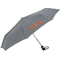View a larger, more detailed picture of the totes Auto Open Close Umbrella - Houndstooth - 24 hr
