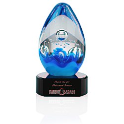 View a larger, more detailed picture of the Cobalt Art Glass Award - Black Base