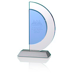 View a larger, more detailed picture of the Indigo Celebration Crystal Award - Crescent